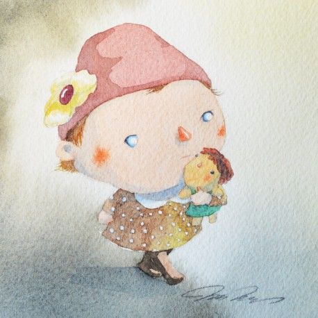 Oeuvre Illustration - Girl with a hat - Masako Masukawa - Aquarelle
