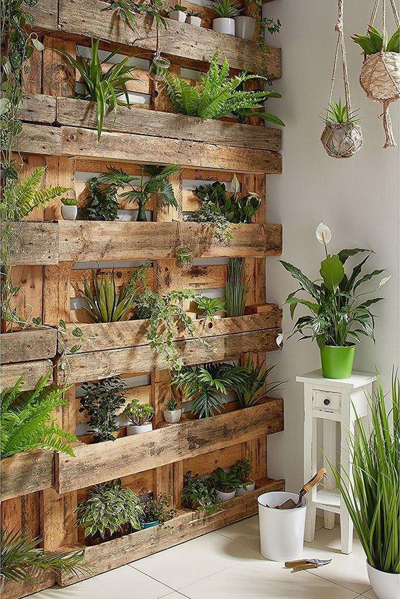 mur végétal en palette pour décorer sa terrasse