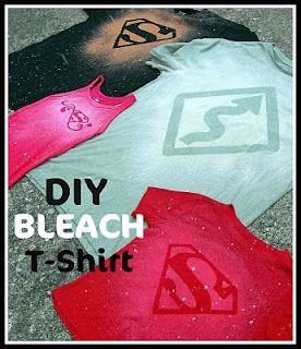Cheap and Easy Homemade Shirts: Bleach Design, Diy Shirt, Bleach T Shirt, Bleach Tee, Bleach Tshirt, Diy Craft, Bleach Shirt