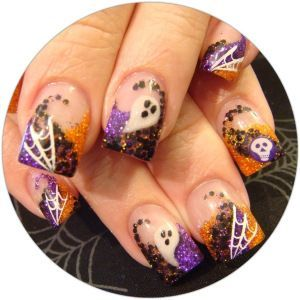 20 Halloween Nail Art Ideas -Daily Makeover.  Witch warts have never looked so cool. The Daily Nail Blog (creator of the mani) says to attach pearl stickers to the nails and then paint over.