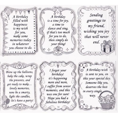 "Double Embossed Textsheet With ""Birthday"" Verses In Silver - S652861ST"