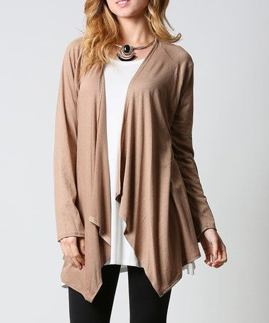 Loving this Mocha Drape-Lapel Open Cardigan on #zulily! #zulilyfinds