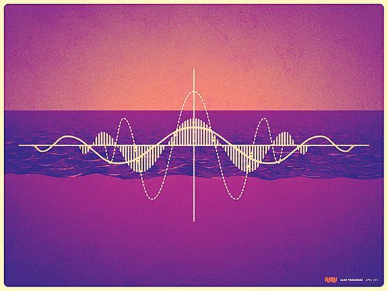 something i found VERY visually pleasing. the gradient in the background sets a romantic mood with a slight cold feel due to the shade of the colours utilized. the white sound waves and lines in the foreground are very sophisticated yet very futuristic and modern seeming. the white works very well with a dark and colourful background.: