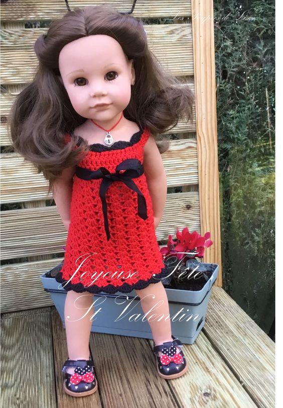 """Tuto gratuit : robe au crochet pour poupée Gotz """" Saint Valentin"""