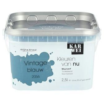 KARWEI Kleuren van Nu muurverf mat vintage blauw 2, alles voor je klus om je huis & tuin te verfraaien vind je bij KARWEI