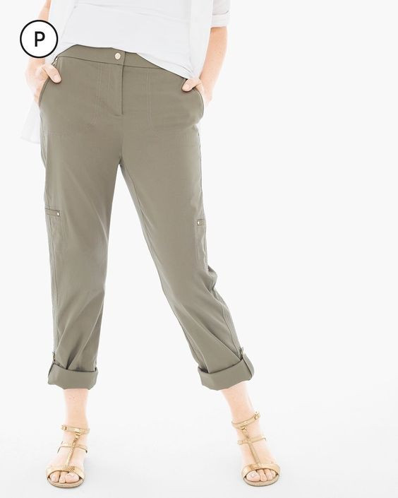 Chico's Women's Petite Luxe Twill Utility Crop Pants