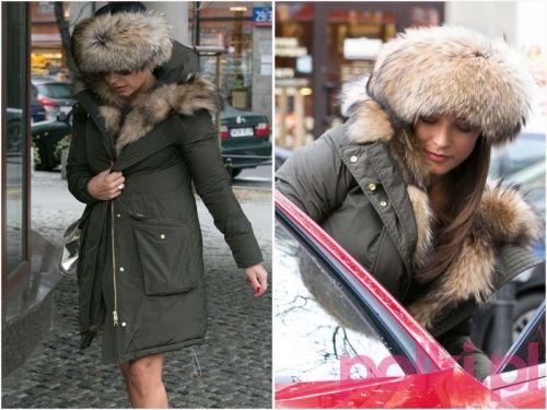 Anna Mucha w futrzanej czapce