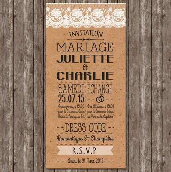 faire part mariage rustique chic champetre