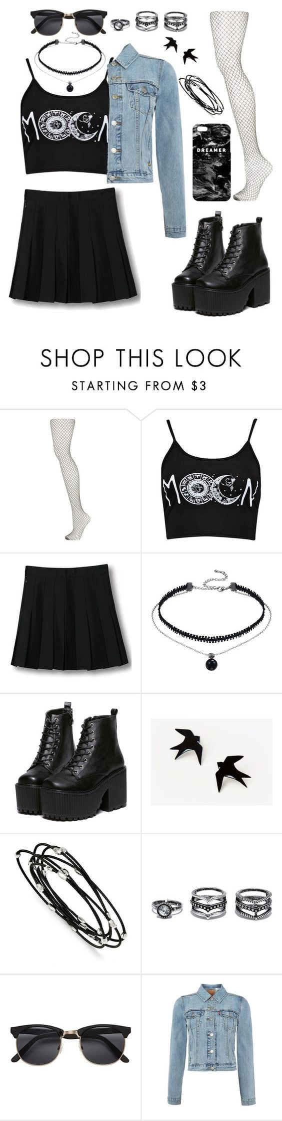 """""""Grunge"""" by shimadaryan ❤ liked on Polyvore featuring Topshop, WithChic, Kevin Jewelers, LULUS, Levi's and Mr. Gugu & Miss Go"""