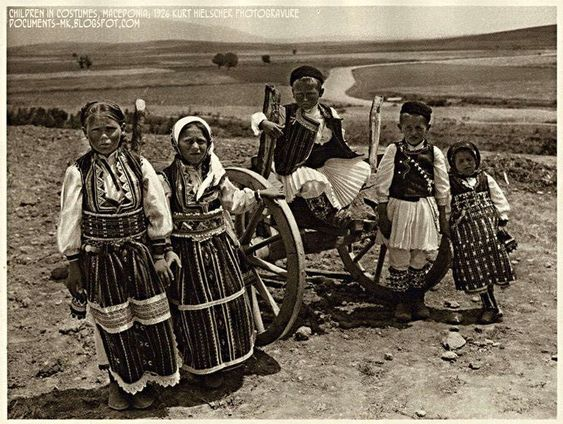 Children in Costumes, Macedonia: 1926 Kurt Hielscher Photogravure Street Ohrid, Macedonia: 1926 Kurt Hielscher