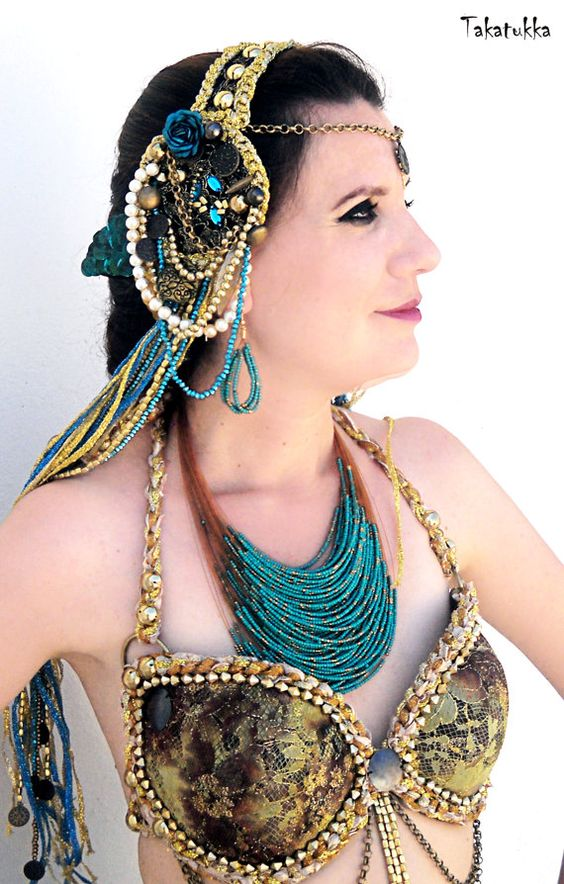 Turkish Tribal Necklace Hand Bead Belly Dance Jewelry by Takatukka