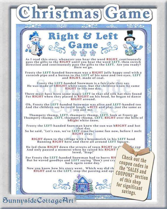 left right game christmas theme decorations