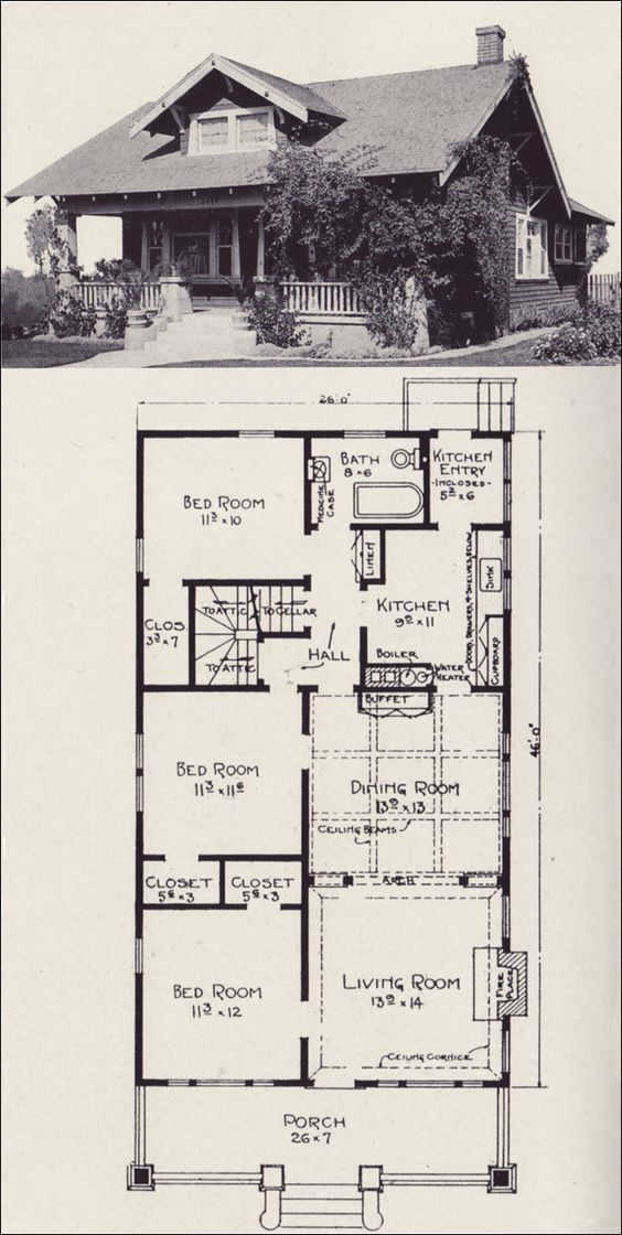 Vintage House Plans Love The Bungalow Style Plan