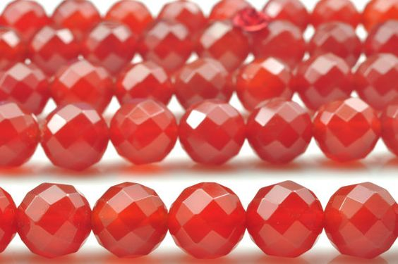 32 pcs of Natural Carnelian faceted round beads in by YesBeads