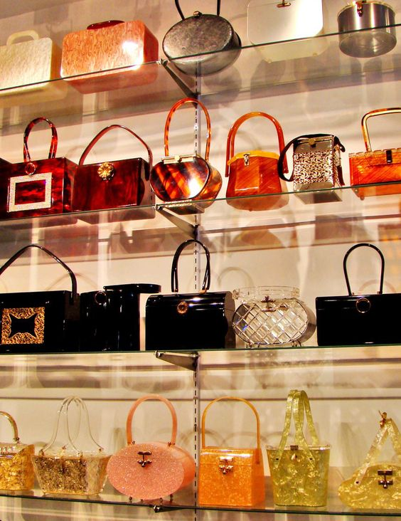 Gasp!  Vintage Bakelite & Lucite Bag Heaven in a shop in New York.