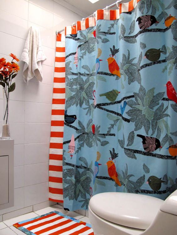 Cortinas De Baño Easy:Cortina de baño selva naranja