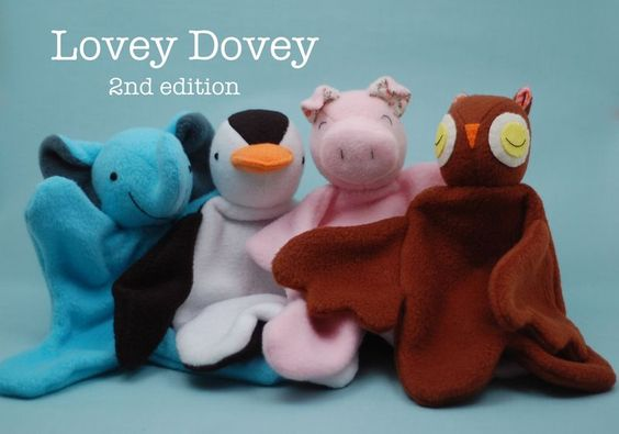 Lovey Dovey--a very easy sewing project for beginning to sew stuffies. Elephant, pengin, pig, and owl. Pattern for sale by Abby Glassenberg.