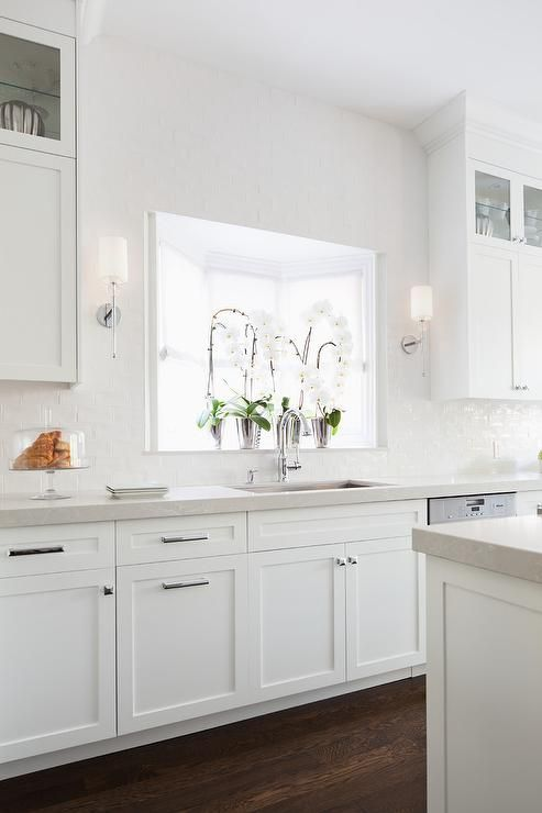 Light Grey Shaker Kitchen Cabinets With White Quartz Countertops Transitional Kitch Grey Shaker Kitchen Kitchen Cabinets Decor Laminate Flooring In Kitchen