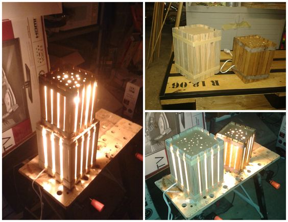 Homemade Lamps With Reclaimed Pallets #Light, #PalletLamp, #RecycledPallet