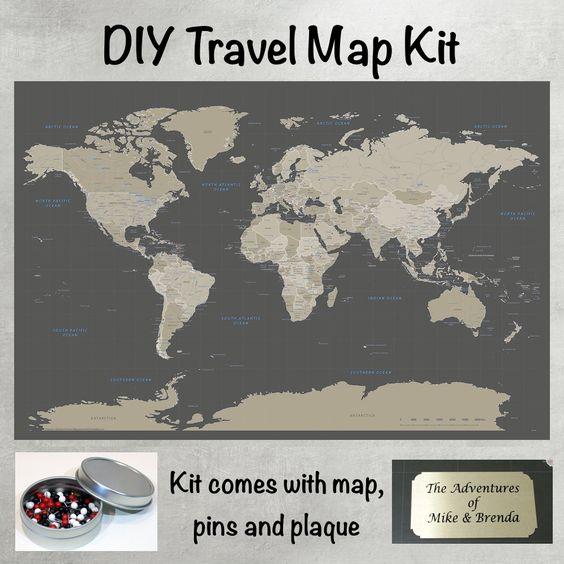 DIY Earth Toned World Push Pin Travel Map Kit – Travel Pin Map Online