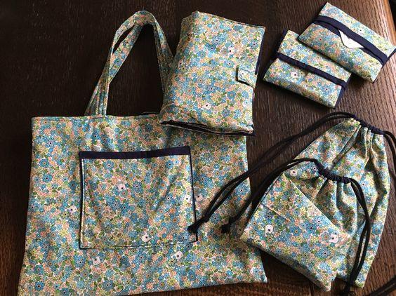 travelamenities bag : MAME FUKU handmadeトラベルセット: