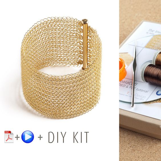 How to wire crochet a cuff bracelet, A unique jewelry making kit in Yoola's wire crochet invisible spool knitting technique. with the kit you will learn How to crochet wire bracelet . Each design has