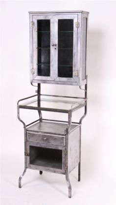 antique hospital storage cabinet