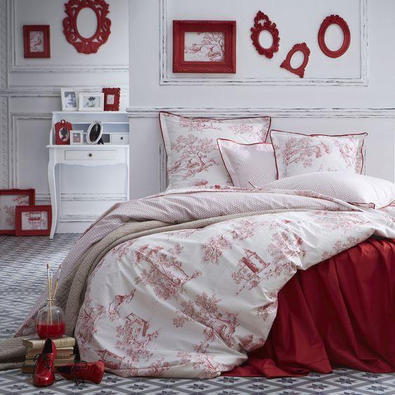 Taie d'oreiller 100% percale de coton fleurs toile de Jouy ETERNITE (marque : Essix)