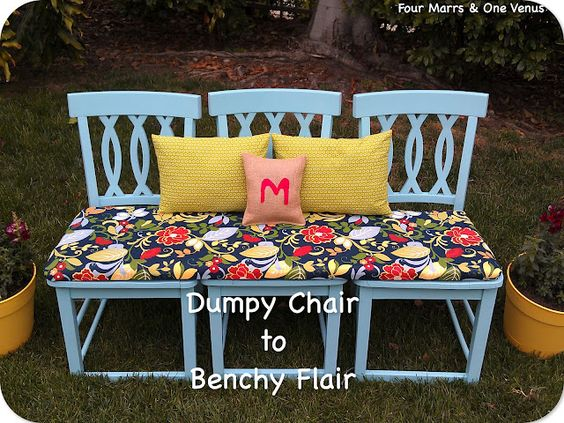 Turn chairs into a great bench. From Four Mars and One Venus