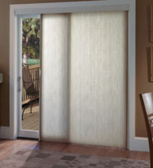 Sliding glass door glass doors and window treatments on for Simple window treatments for large windows