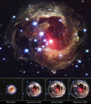 In 2002, this star, V838 Monocerotis, suddenly brightened for several weeks. The images captured by Hubble revealed an effect called a light echo and showed never-before-seen dust patterns in surrounding cloud structures.