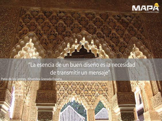 """#Frase del día: """"La esencia de un buen diseño es la necesidad de transmitir un mensaje""""... Arcos del Patio de Los Leones, Alhambra Granada #España, comenzó construcción 1377, rodeada por 124 columnas de mármol blanco."""