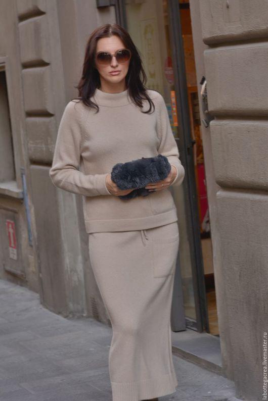 Юбки ручной работы. Заказать Вязаный костюм Style me pretty cashmere с юбкой. La Bottega Creativa. Ярмарка Мастеров.