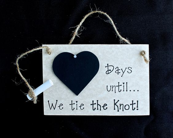 """The Knot Wedding Gifts: Engagement Gift Idea. Wedding Countdown Sign, """"Days Until"""