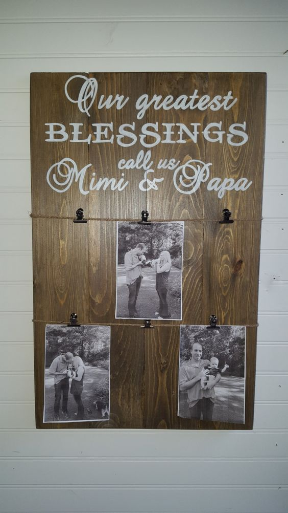 Personalized rustic picture holder, Our greatest blessings sign with clips for pictures, Mother's day, Father's day by OurLittleCountryShop on Etsy