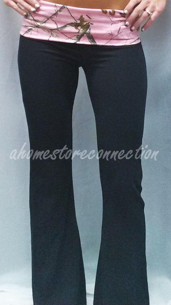 NEW~WOMENS BLACK REALTREE PINK CAMO YOGA FITNESS LOUNGE SWEAT PANTS~L LARGE #LadyBell #YogaPants