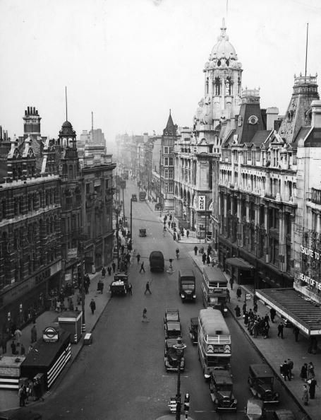 15th October 1943: Tottenham Court Road, a street in London's busiest shopping district. Near the underground station are the Dominion Theatre and the YMCA. (Photo by Harry Todd/Fox Photos/Getty Images)