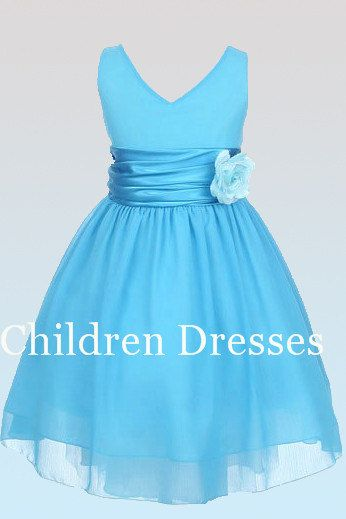 Light blue bow belt Vneck flower girl dresses Kids by CDYshop ...