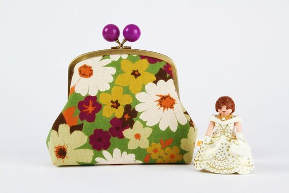 Color bobble pouch  Flowers Spring  metal frame pouch by octopurse, $32.40