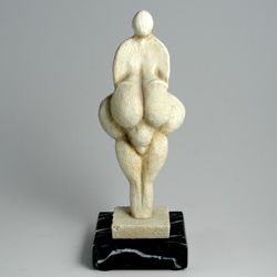 Lespugue Goddess, replica of a famous figurine found in France, 24,000 to 26,000 years old. Found in a cave used by ancient people