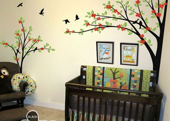 Corner Two Trees Bird Flower Blossom Wall Decals Nursery Decor Kids Baby Gifts Arts Stickers Mural