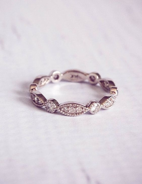 1930's Style Diamond Pave Wedding Band Ring by TemsahJewelers - Deer Pearl Flowers