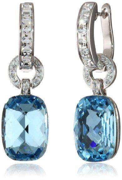 Sterling Silver Blue Crystal Swarovski Elements Drop Earrings