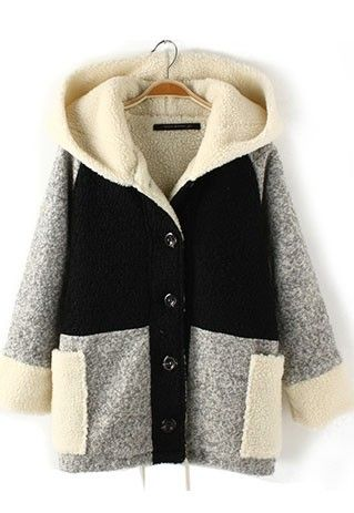 Leisure Stylish Contrast Color Patch Hood Warm Coat for big sale!