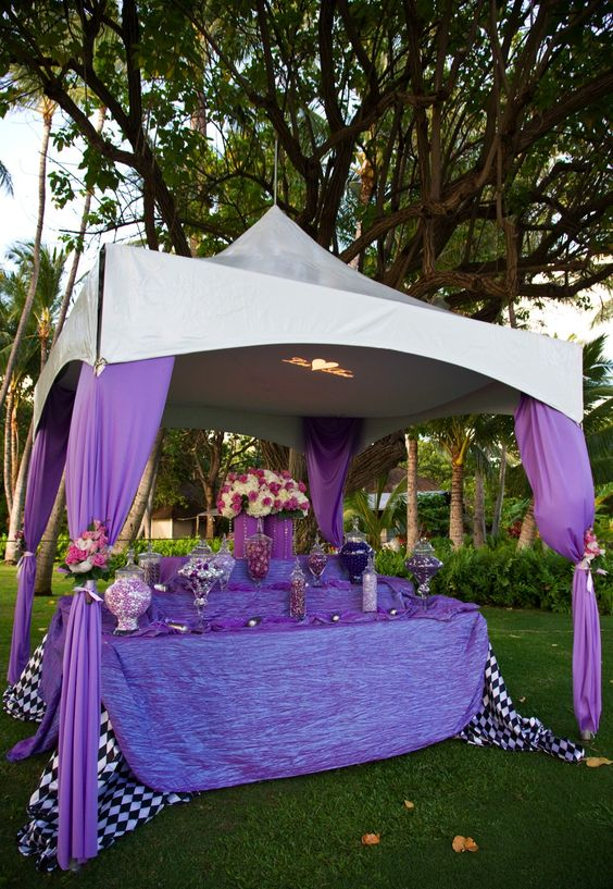 Tented candy buffet i like this idea but it needs better for Outdoor party tent decorating ideas