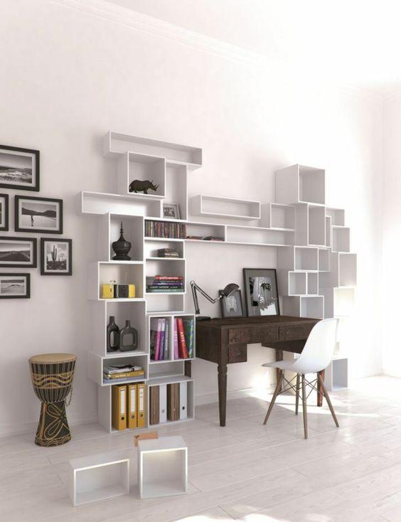 Regalsystem weiß Wohnzimmer Einrichtung kreative Wand Gestaltung - wohnzimmer komplett weis