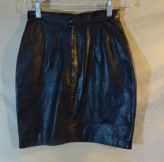 VINTAGE! Tannery West Black Leather Skirt Mini-Skirt Size 4- NICE ...