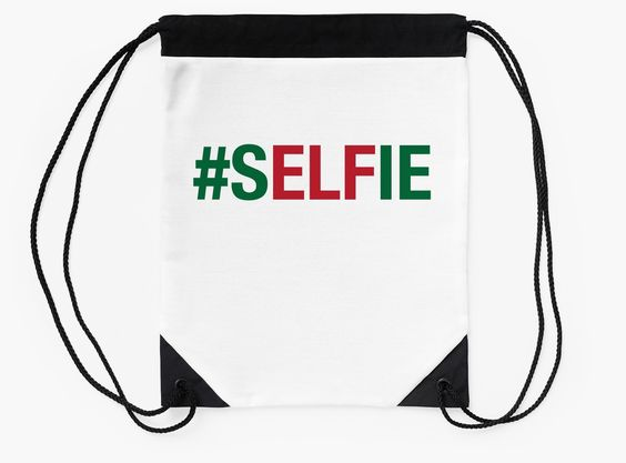"""sELFie"" Drawstring Bags by bubbliciousart 