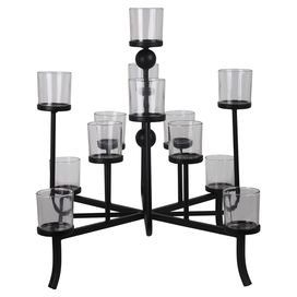 """Bring an eye-catching touch to your entryway or master suite with this metal candleholder, showcasing 13 votives and a black finish.  Product: CandleholderConstruction Material: Metal Color: BlackAccommodates: (13) Candles - not included Dimensions: 25"""" H x 20"""" W x 20"""" D"""