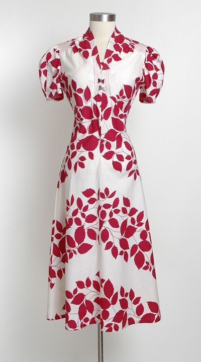 HEMLOCK VINTAGE CLOTHING : 1930's Red and White Cotton Dress
